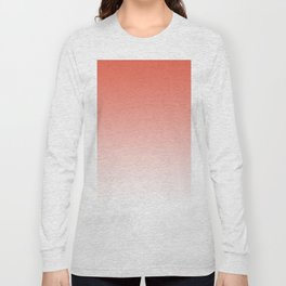 Pantone Living Coral Gradient Ombre to White Design Long Sleeve T-shirt