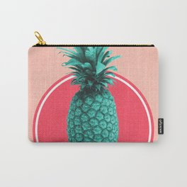 Pineapple Print - Tropical Decor - Botanical Print - Pineapple Wall Art - Blue, Pink - Minimal Carry-All Pouch