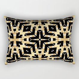 Black and Gold Foil Art Deco Rectangular Pillow
