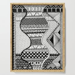 Wavy Geometric Patterns Serving Tray