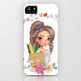 girl with groceries iPhone Case