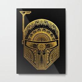 Mandala BobaFett - Gold Foil Metal Print
