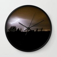 lightning Wall Clocks featuring Lightning by Cory Lawrence Photography