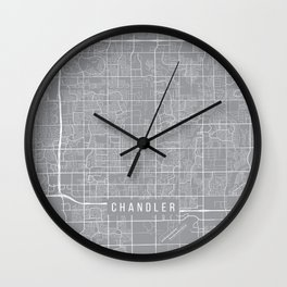 Chandler Map, Arizona USA - Pewter Wall Clock