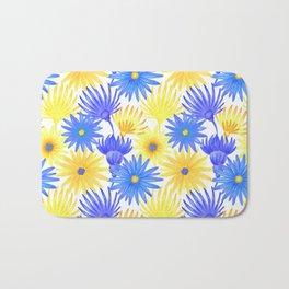 Modern blue yellow watercolor hand painted flowers Bath Mat