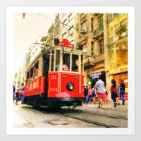 Nostalgic İstiklal Caddesi Tram Art Print