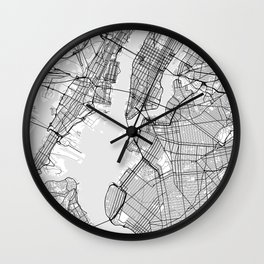 Scandinavian map of New York City in grayscale Wall Clock