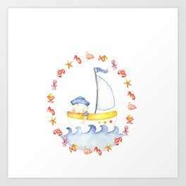 Baby sailor Art Print