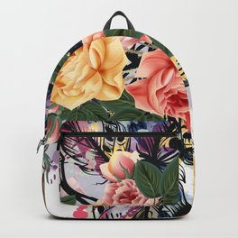 Art boho design with arrows, feathers and flowers. Wild way Backpack