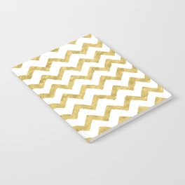 Chevron Gold And White Notebook