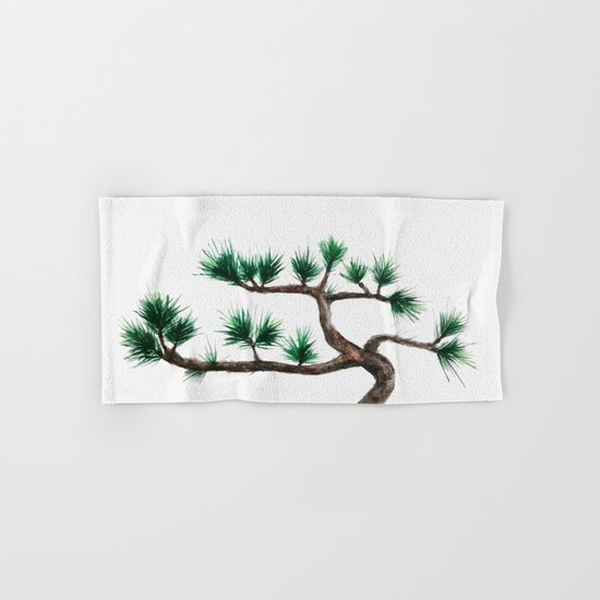 green pine tree painting Hand & Bath Towel