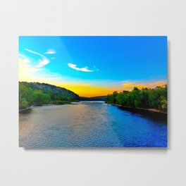 Sunset on the Delaware River Metal Print