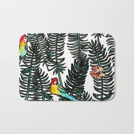 Rainbow Parrot Dark Tropical Palm Leaves Bath Mat
