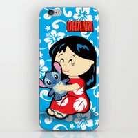 lilo and stitch iPhone & iPod Skins featuring Ohana Lilo and Stitch by Jasmine Victoria