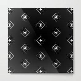 Black & White Rhombus & Squares Pattern 2 Metal Print