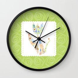 Sweet Hugs & Kisses, green background Wall Clock