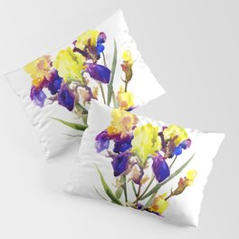 Garden Iris Floral Artwork Yellow Purple Blue Floral design, bright colored floral design Pillow Sham
