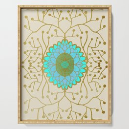 Turquoise and Gold Sunflower Serving Tray