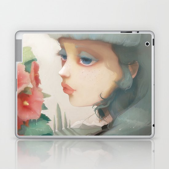 Pensees et roses tremieres Laptop & iPad Skin