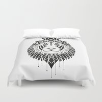 leo Duvet Covers featuring leo by LydiaSchüttengruber