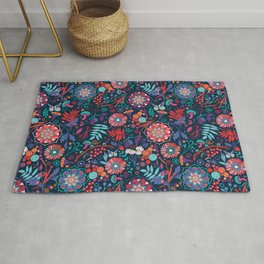 Ripe autumn – cyan and red Rug