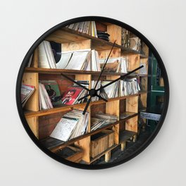 Albums On The Shelf Wall Clock