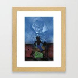 Boy Rides Dog Framed Art Print