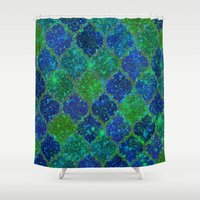 moroccan Shower Curtains featuring Glitter Moroccan by Saundra Myles