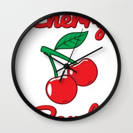 Cherry Bomb Retro Vintage Old Style design Wall Clock