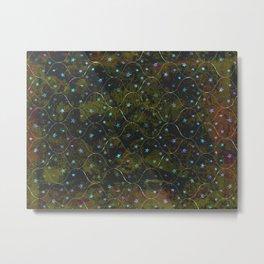 Starry Night Tile Pattern in Gold Metal Print