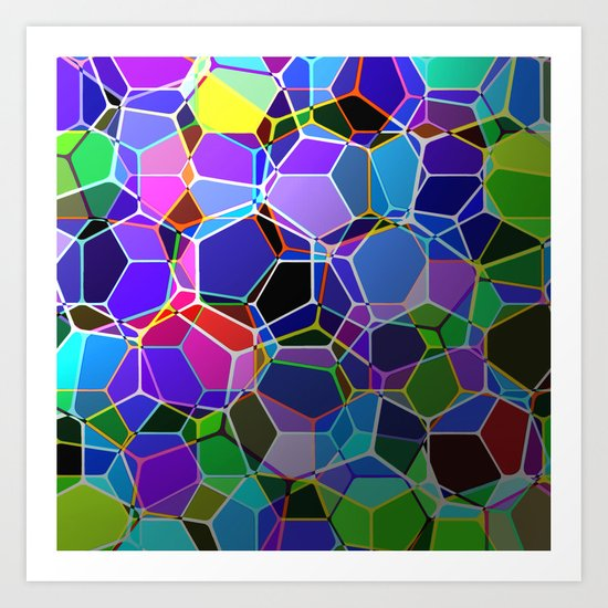 Geometric Genetics - Metallic, abstract, geometric pattern Art Print