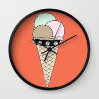 gucci Wall Clocks featuring Ice Cream by Hanna Scott