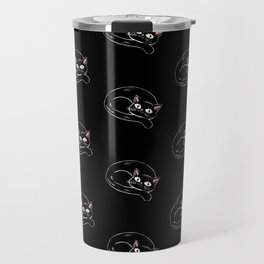 Cattywampus Black Kitty Pattern Travel Mug