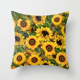 Vintage & Shabby Chic - Noon Sunflowers Garden Throw Pillow