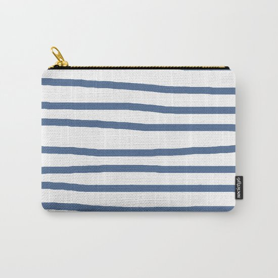 Simply Drawn Stripes in Aegean Blue and White Carry-All Pouch