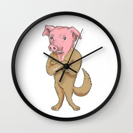 Pig Dog Standing Arms Crossed Cartoon Wall Clock