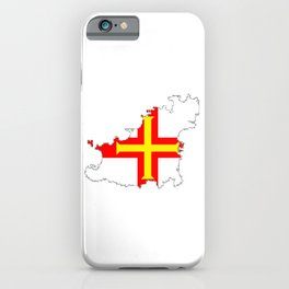 Guernsey Outline Silhouette Map With Inset Flag iPhone Case