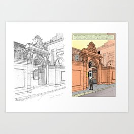 Former mansion of Aix-en-Provence (France) - Two-part illustration Art Print