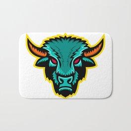 American Bison Head Sports Mascot Bath Mat