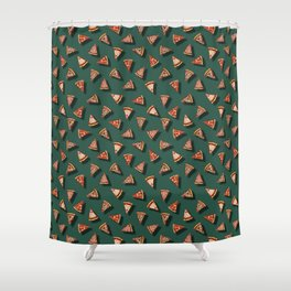 Pizza Party Pattern - Floating Pizza Slices on Teal Shower Curtain
