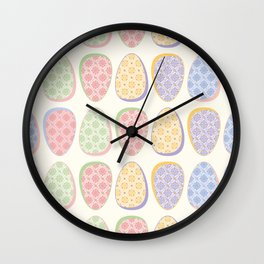 Foliage Easter Eggs Pattern Wall Clock