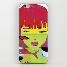 """""""Redhead Worry"""" Paulette Lust's Original, Contemporary, Whimsical, Colorful Art iPhone Skin"""