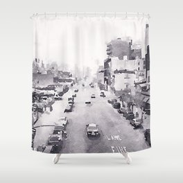 NY Streets Watercolor Shower Curtain