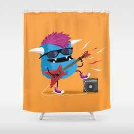 Monster punk rocks with his electric guitar Shower Curtain