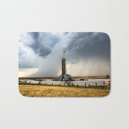 Nevermind the Weather - Oil Rig and Passing Storm in Oklahoma Bath Mat