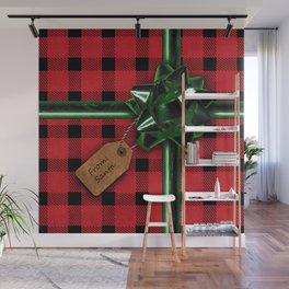 Red Christmas gift wrap Wall Mural
