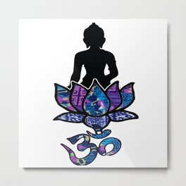 Buddha Lotus flower with Ohm/Om symbol. Metal Print