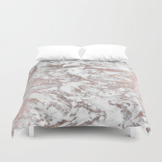 Elegant White Faux Rose Gold Modern Marble Duvet Cover By