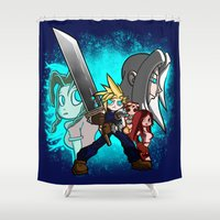 scott pilgrim Shower Curtains featuring Cloud Pilgrim by CjBouchermedia