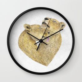 Lioness Lovers Wall Clock